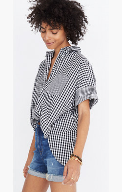 Gingham-Play Button-Down Shirt