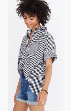 Gingham-Play Button-Down Shirt