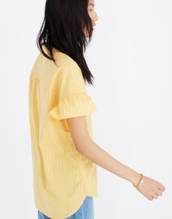 Central Ruffle-Sleeve Shirt in Eudora Stripe