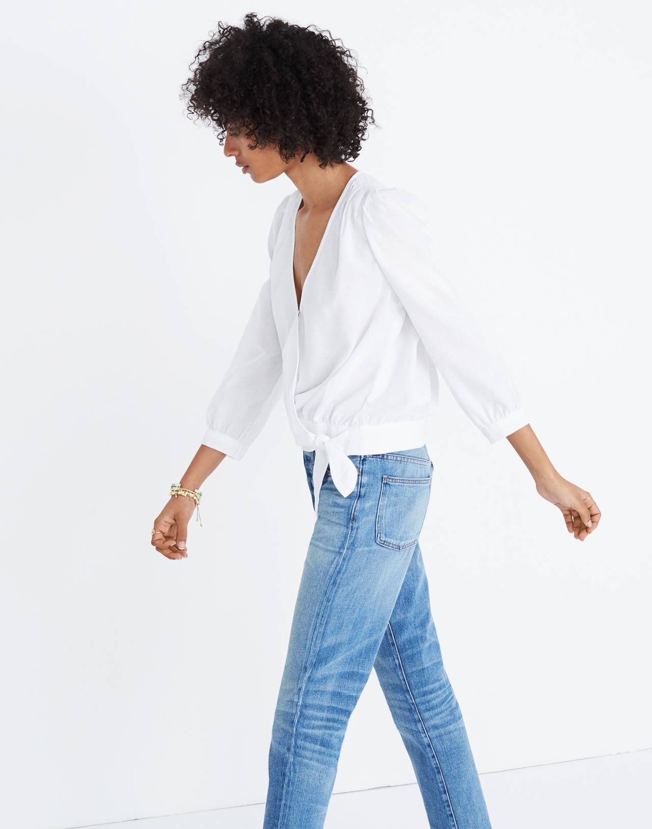 Wrap Top in Eyelet White in eyelet white image 2