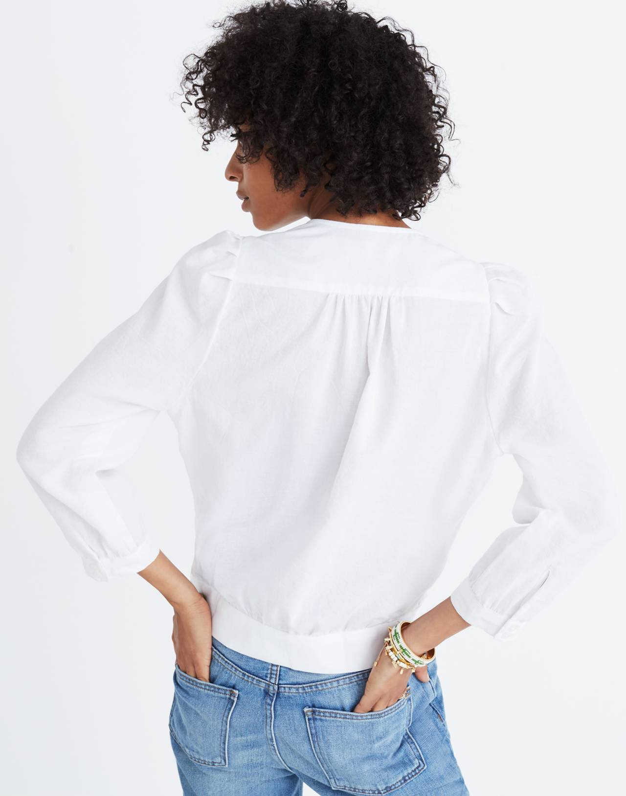 Wrap Top in Eyelet White in eyelet white image 3