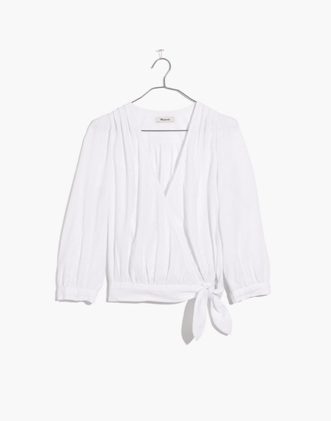 Wrap Top in Eyelet White in eyelet white image 4