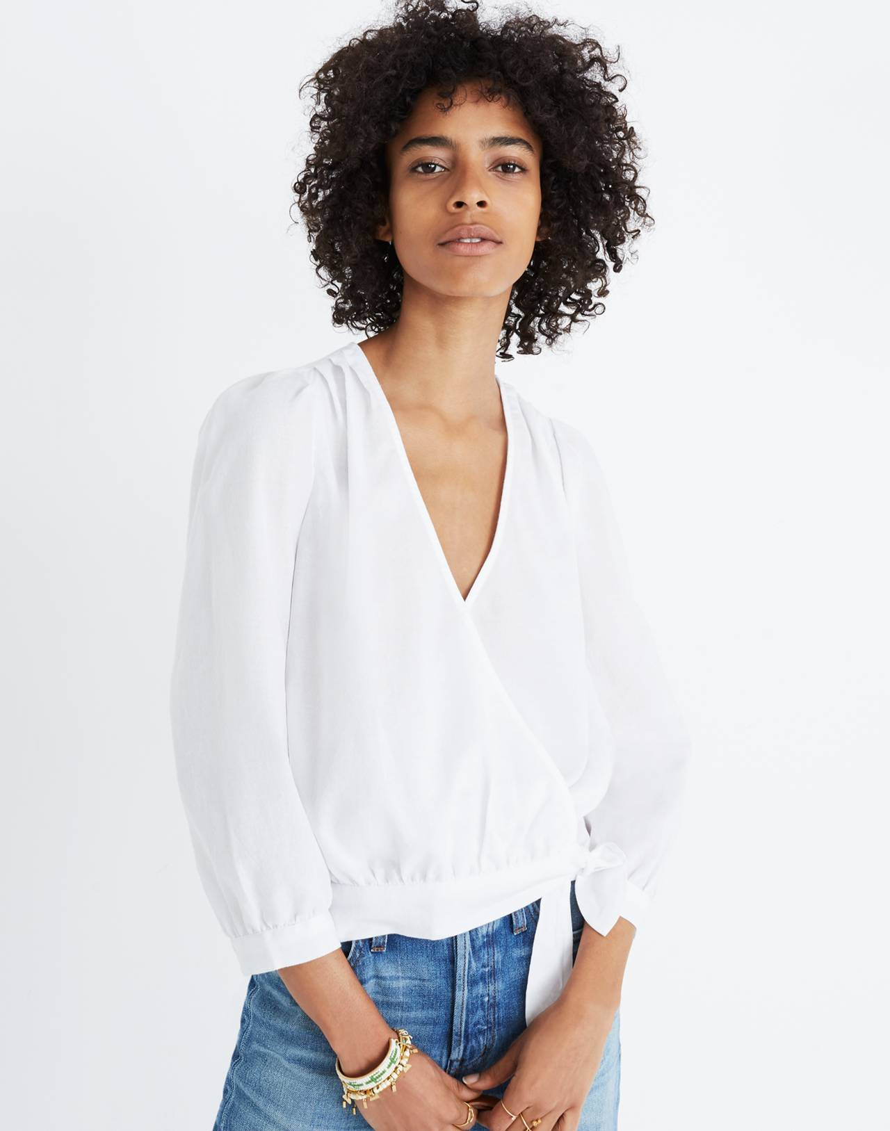 Wrap Top in Eyelet White in eyelet white image 1