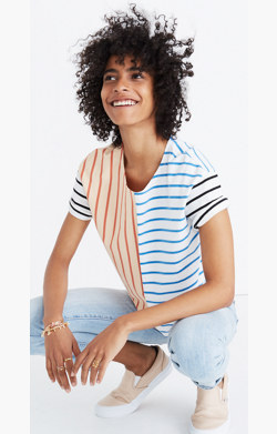 Easy Crop Tee in Stripe Mix