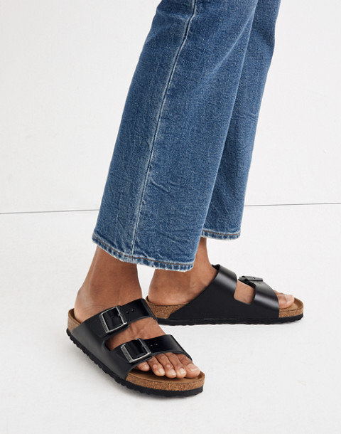 Birkenstock® Arizona Sandals in Black Leather in true black image 2