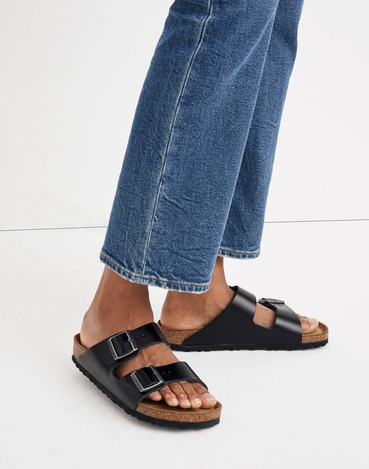 Birkenstock® Arizona Sandals in Black Leather in true black image 2