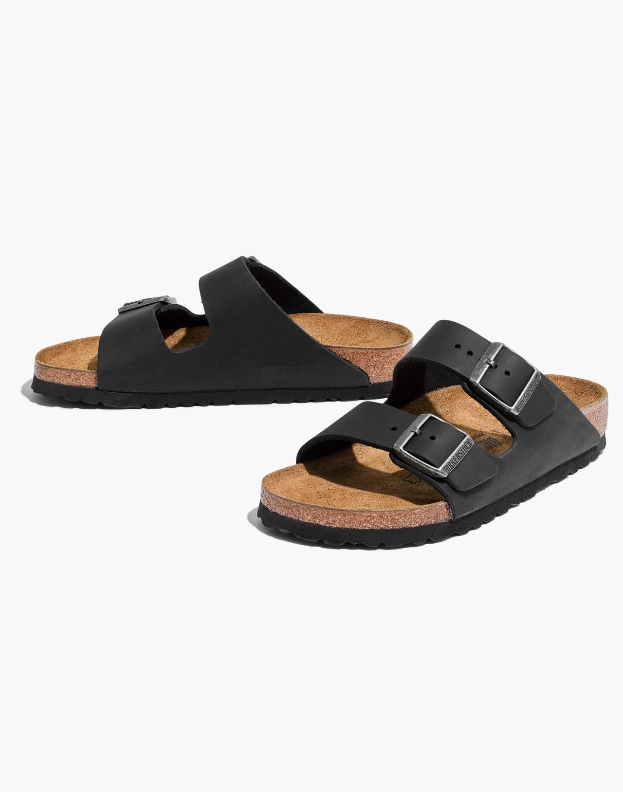 Birkenstock® Arizona Sandals in Black Leather in true black image 1
