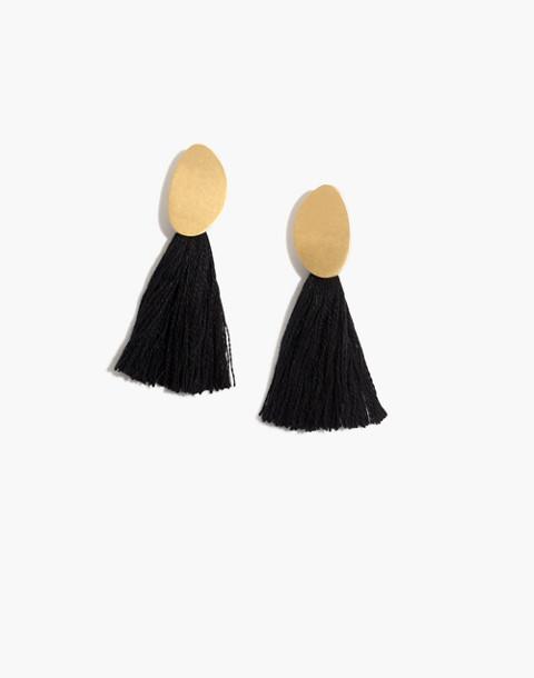 Tassel Statement Earrings in true black image 1