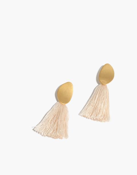 Tassel Statement Earrings in vintage linen image 1