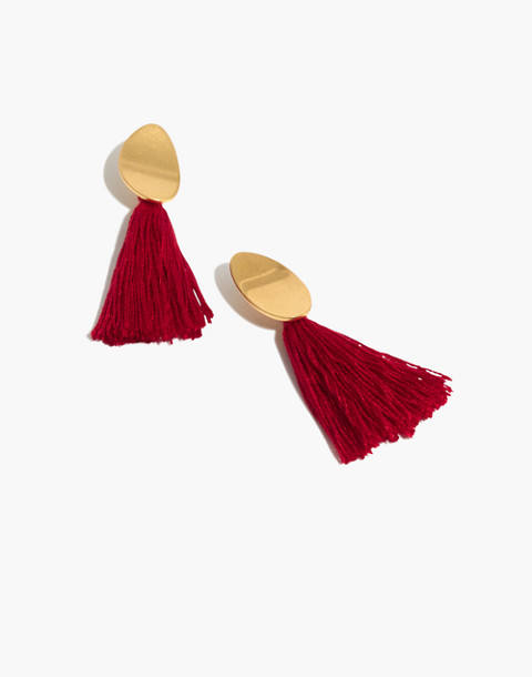 Tassel Statement Earrings in cranberry image 1