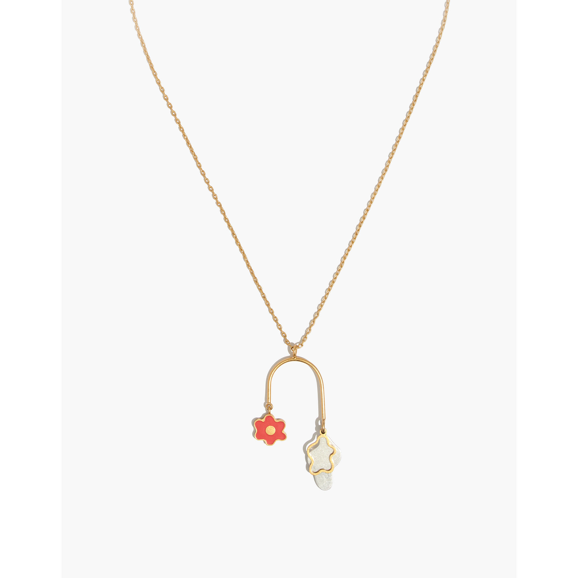 gold daisy pendant plated jensen necklaces image jewellery white georg enamel with