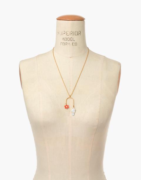 Daisy Pendant Necklace in coastal orange image 3