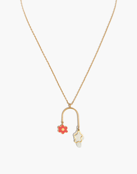 Daisy Pendant Necklace in coastal orange image 1