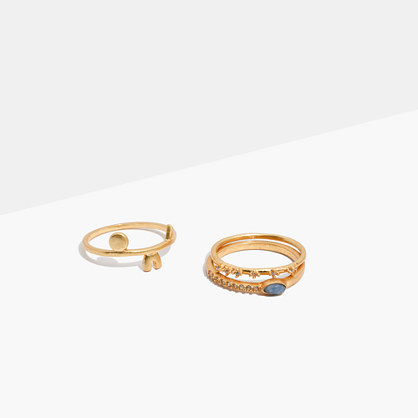 Shapes and Stones Ring Set