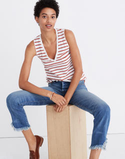 Whisper Cotton V-Neck Pocket Tank in Abilene Stripe