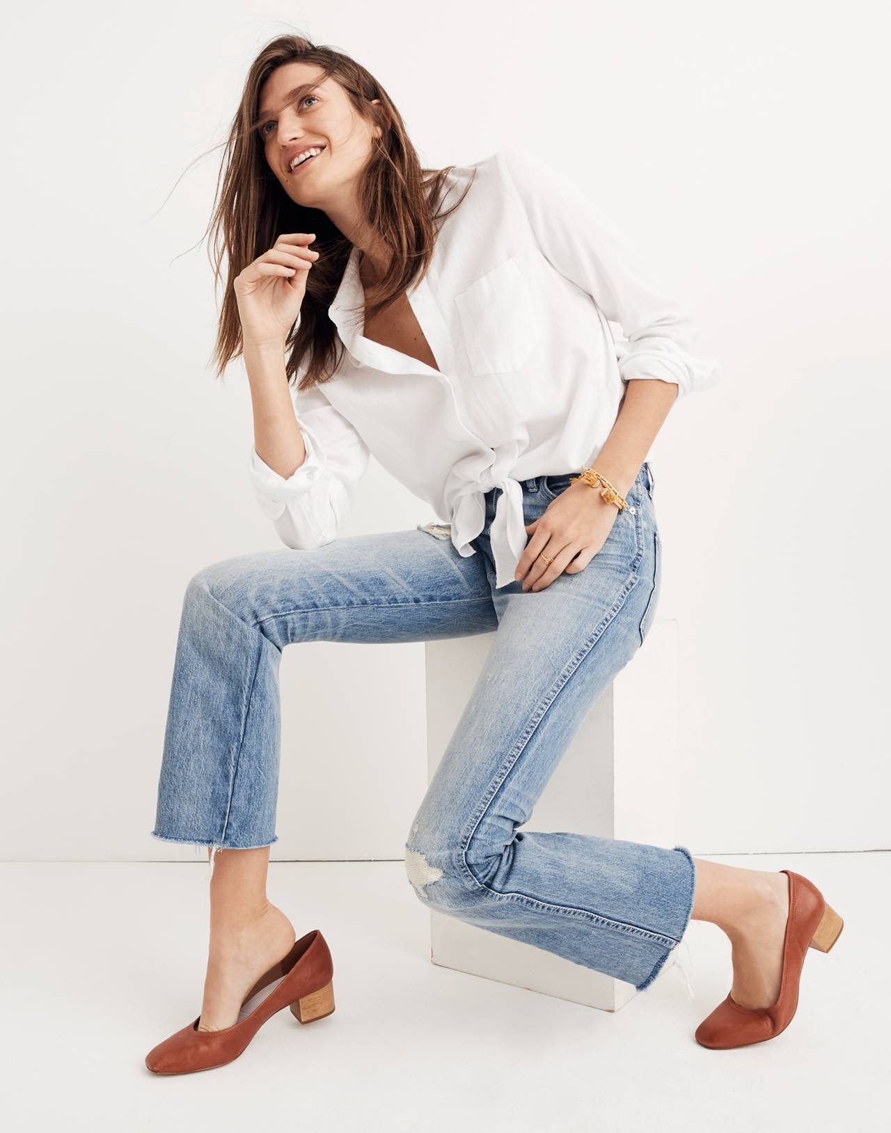 Tall Rigid Demi-Boot Crop Jeans in rowes wash image 2