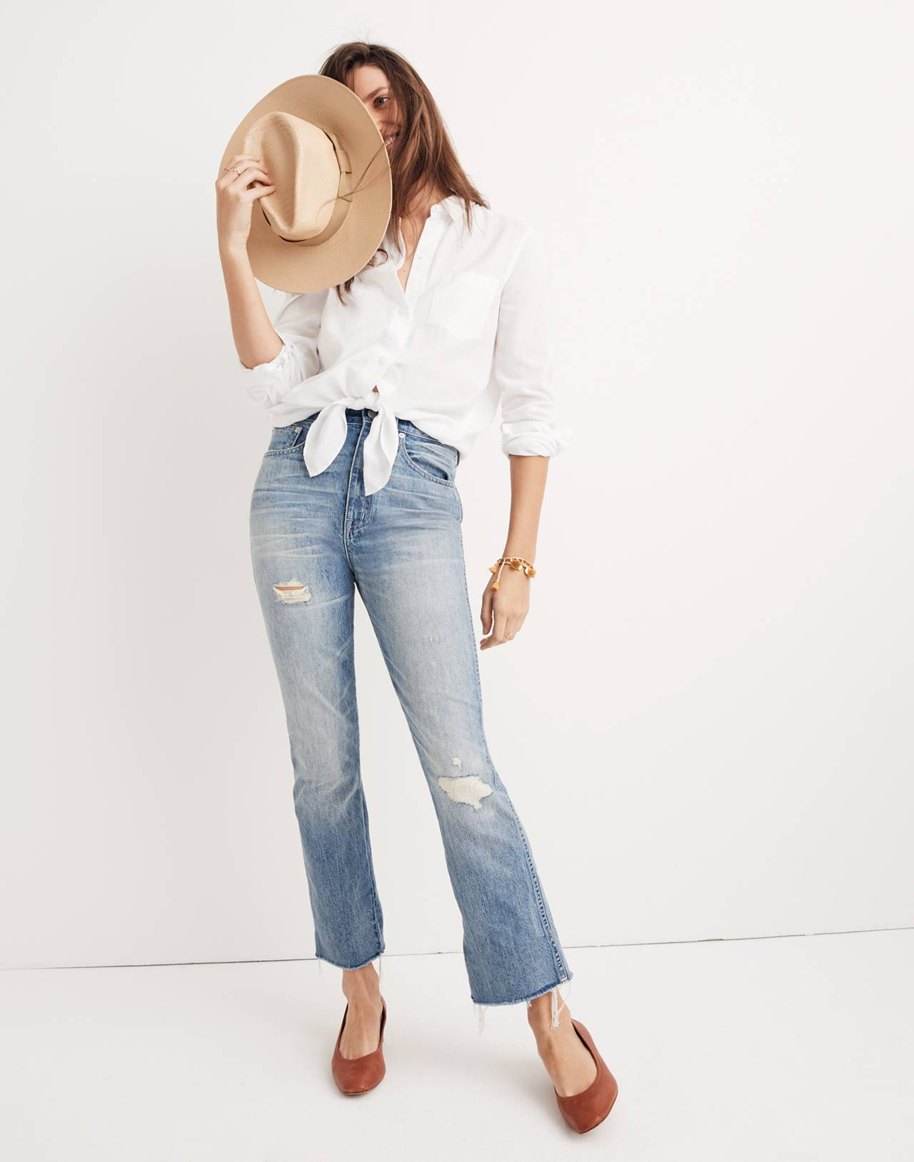 Tall Rigid Demi-Boot Crop Jeans in rowes wash image 1