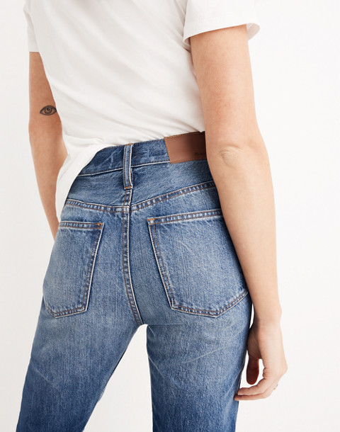 Rigid Straight Crop Jeans: Tall Cuff Edition in stipe wash image 3