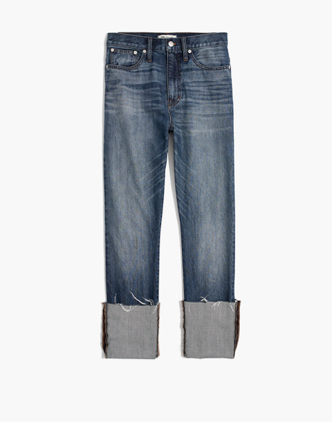 Rigid Straight Crop Jeans: Tall Cuff Edition in stipe wash image 4