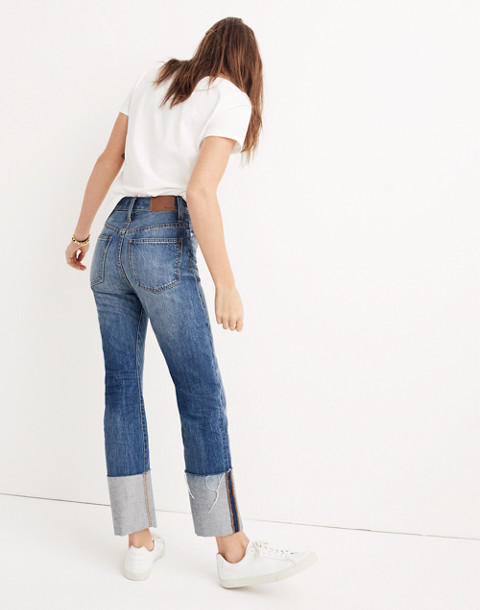 Rigid Straight Crop Jeans: Tall Cuff Edition in stipe wash image 1