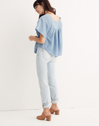 Embroidered Denim Butterfly Top in veruca wash image 2