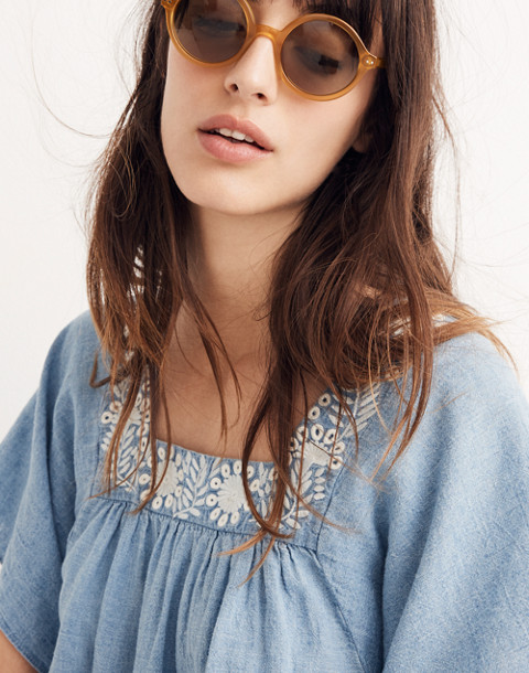 Embroidered Denim Butterfly Top