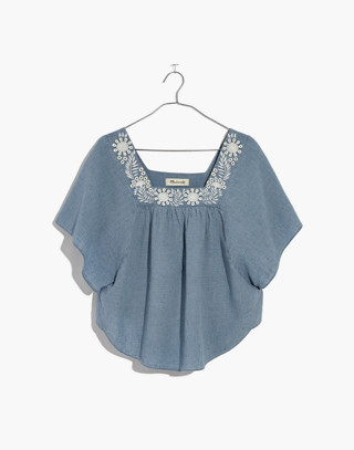 Embroidered Denim Butterfly Top in veruca wash image 4