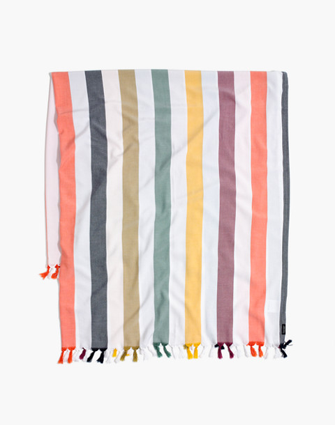 Madewell x Tavik® Beach Throw in Rainbow Stripe in peacock stripe image 1