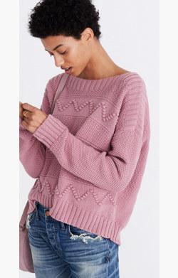 Zigzag-Stitch Pullover Sweater