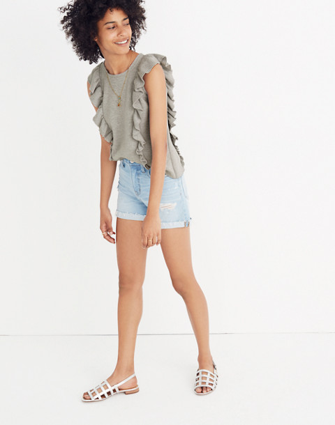 Ruffled Sweater Tank in hthr seagull image 2