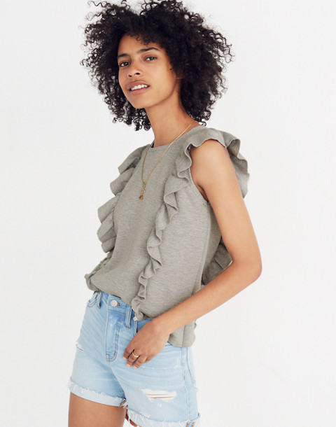 Ruffled Sweater Tank in hthr seagull image 1