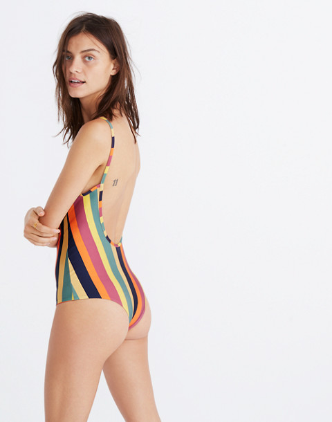 Madewell x Tavik® Lila One-Piece Swimsuit in Rainbow Stripe in peacock stripe image 3