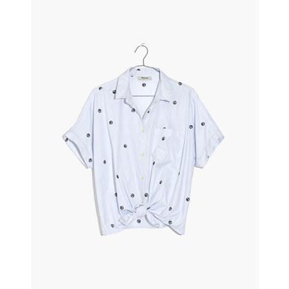 美德威尔Madewell刺绣Peace Sign短袖Tie-Front衬衣