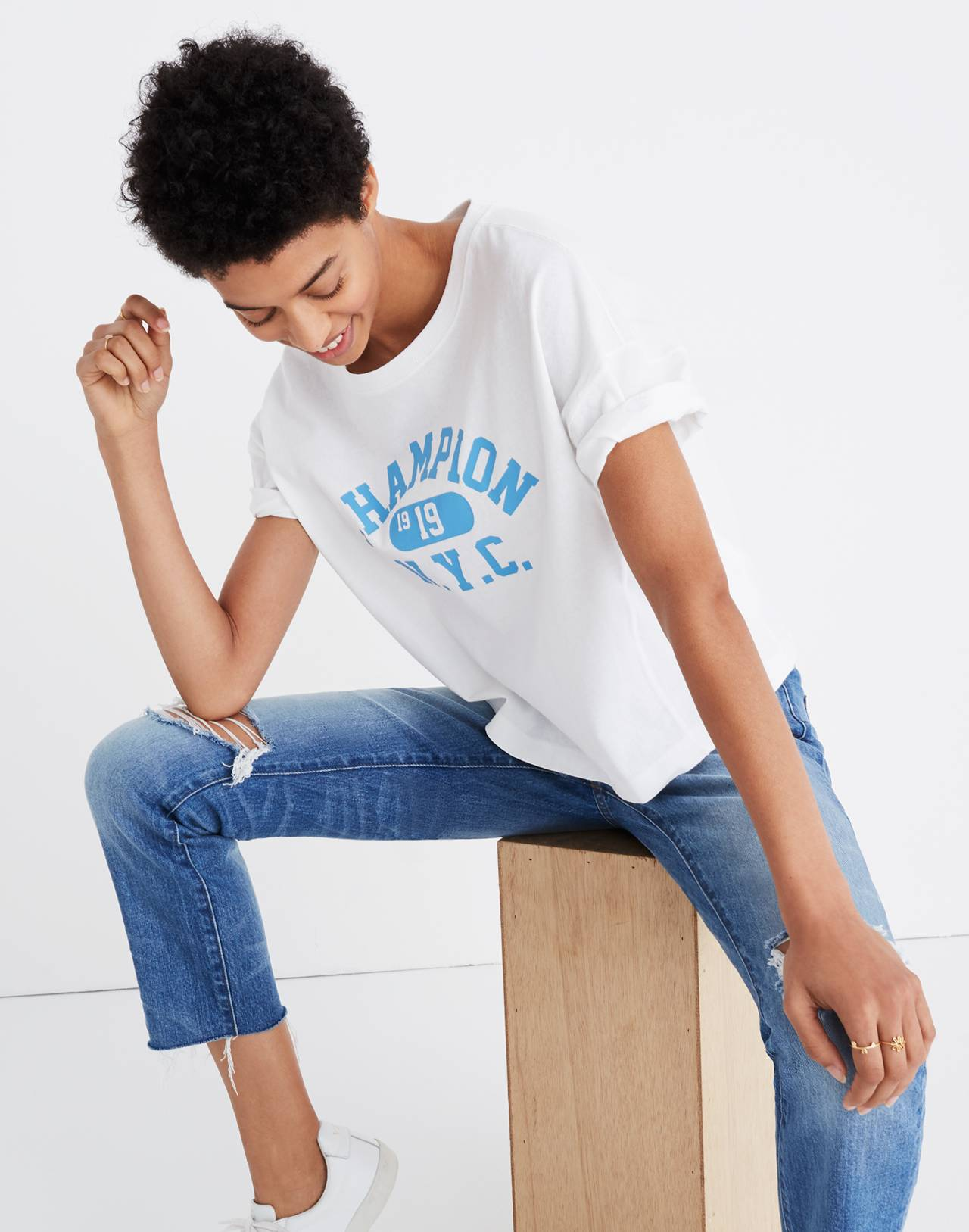 Champion® Oversized Tee in white image 3