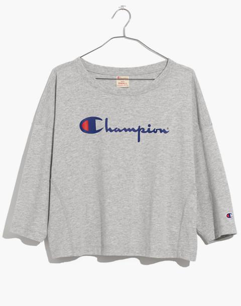 Champion® Classic Script Tee in heather grey image 4