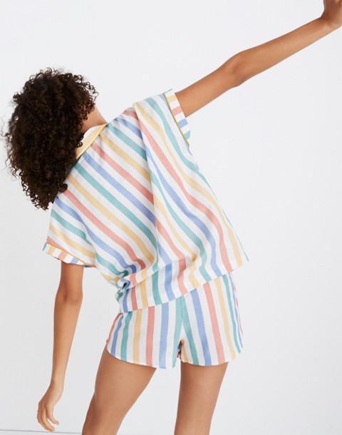 Bedtime Pajama Shirt in Stripe in ivory image 2