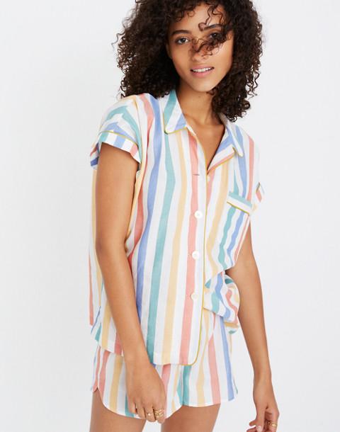 Bedtime Pajama Shirt in Stripe in ivory image 3