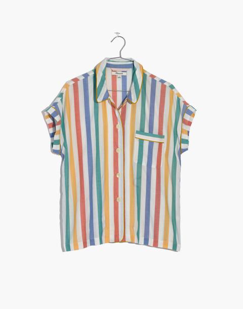 Bedtime Pajama Shirt in Stripe in ivory image 4