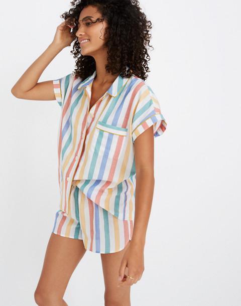 Bedtime Pajama Shirt in Stripe in ivory image 1