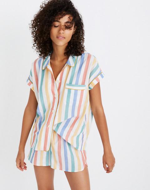 Bedtime Pajama Short in Stripe in ivory image 3