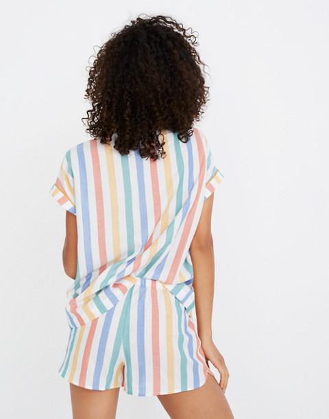 Bedtime Pajama Short in Stripe in ivory image 1