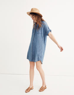 Denim Courier Shirtdress in Lauryn Wash