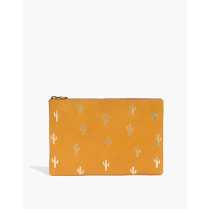 The Leather Pouch Clutch: Embossed Cactus Edition