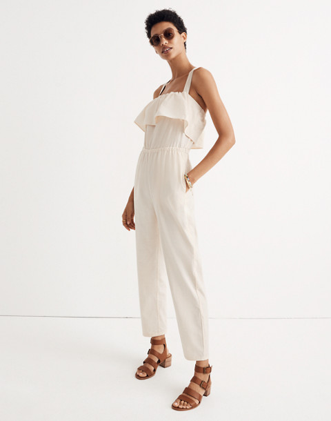 Apron Ruffle Jumpsuit in cloud lining image 1
