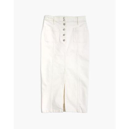 White High-Slit Jean Skirt