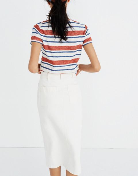 White High-Slit Jean Skirt in tile white image 2