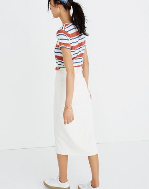 White High-Slit Jean Skirt in tile white image 3