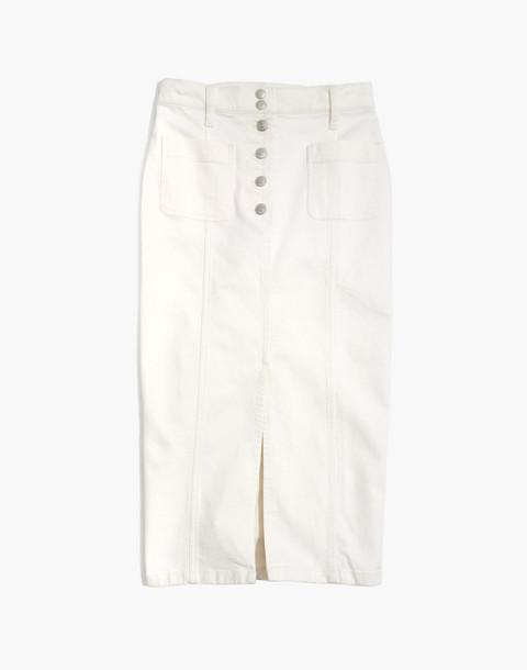 White High-Slit Jean Skirt in tile white image 4