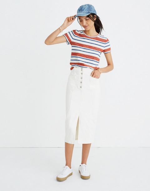 White High-Slit Jean Skirt in tile white image 1