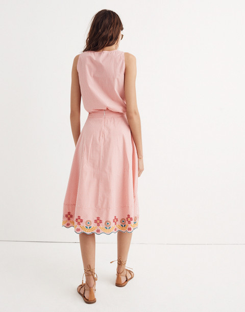 Embroidered Gingham Circle Skirt in sunset gingham image 3